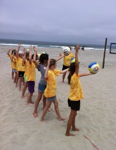 beach camp girls serving group