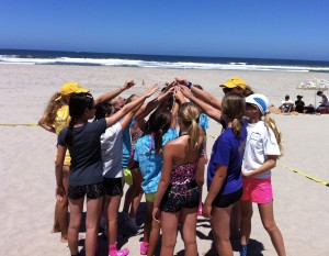 beach camp group cheer