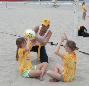 beach camp setting coach barb instr